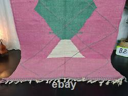Tapis Marocain Kilim Handmade Carpet 5'5x7'8 Geometric Berber Pink Green Wool Rug