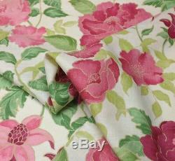 Tissu En Lin Pour Tissus D'ameublement Floraux Rose Vert Nina Campbell Mai Fleuri, 4 Verges 55w