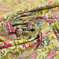 Tissus De Rideaux Rembourrés En Chenille Rose Jaune Vert, Motif Paisley