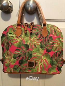Tn-o Dooney & Bourke Tropical Palm Leaf Montego Zip Zip Satchel En Rose