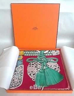Tn-o. Hermes Parures De Samourais Echarpe 100% Soie Carre Framboise Vert Rose