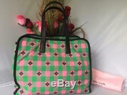 Tn-o Kate Spade Vert Rose À Carreaux Morley Grand Fourre-tout En Nylon Sac Shopper New Arrival