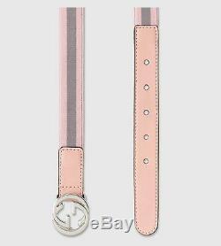 Tn-o Nouveau Gucci Filles Garçons Ceinture Bande Gg Web S Vert Ou Rose M L 258155