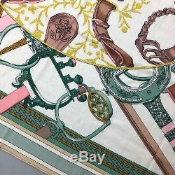 Tn-o Nouveau Hermes Rose Vert Blanc Duo D'etriers Cachemire Soie 140 XL Châle Écharpe