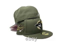 Toronto Blue Jays 1993 Olive Green Pink Brim New Era Fitted Hat Taille 7 3/8