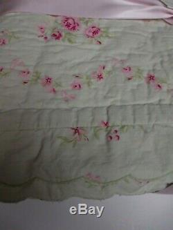 Tout Simplement Shabby Chic Vert Rose Rose Floral Festonnée Quilt Roi