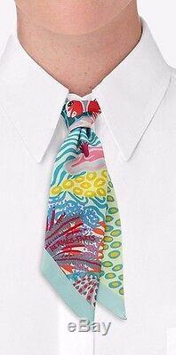 USA Vendeur Tno Hermes Twilly Sous Les Vagues Rose Jaune Corail Vert Pastel