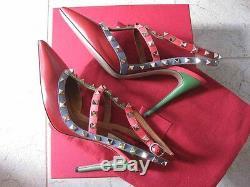 Valentino Auth Chaussures À Talons En Cuir Rockstud 100 MM En Cuir 39 Rouge Bleu Rose Vert