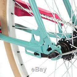 Vélo Beach Cruiser Pour Femme Projekt Pour Femme, Édition Tiffany Vert Et Rose