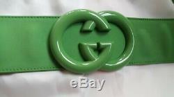 Vente! Nwt Gucci Gg Ceinture Robe Vert / Rose Avec Ceinture - Taille M Rtl $ 2000