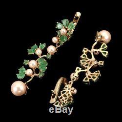 Vert Émeraude Poire Non Chauffée 4x3mm Perle Rose 7mm Argent 925 Boucles D'oreilles