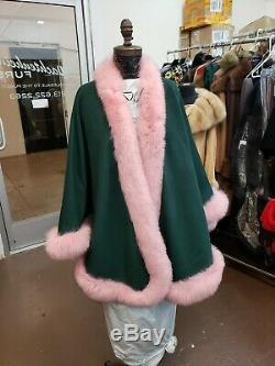 Vert Et Rose 100% Pur Cachemire Swing Cape Châle Wrap Fox Version Alpha Kappa Alpha