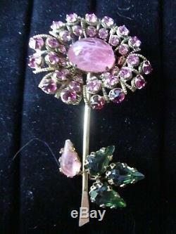 Vintage Signé Schreiner New York, Vert, Rose, Grande Fleur Broche