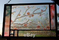 Vitrail Résumé Panneau De Fleurs De Printemps Vert Turquoise Rose