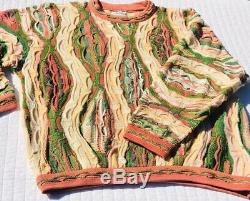 Vtg 1990 Coogi Australie Cosby Biggie Smalls Pull Rare Pastèque Rose Vert