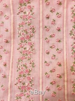 Vtg Floqués Floral Tissu Rose Blanc Fleurs Vert Dernier Lot 4 X 44 Yards
