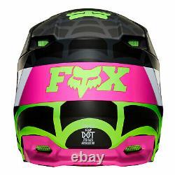 Youth Fox V1 Venin Motocross MX Casque Noir Vert Rose Web Enfants Quad Bike